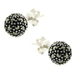 Dolce Giavonna Silver Overlay Marcasite Ball Stud Earrings