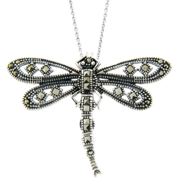 Dolce Giavonna Silverplated Marcasite Dragonfly Necklace
