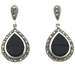 Dolce Giavonna Silver Overlay Marcasite and Black Onyx Teardrop Earrings