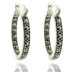Dolce Giavonna Antiqued Silver Overlay Marcasite Brass Hoop Gray Gemstone Earrings