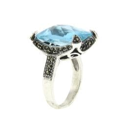 Dolce Giavonna Silver Overlay Blue Glass and Marcasite Rectangle Ring