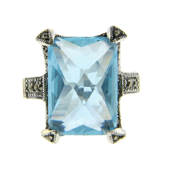 Dolce Giavonna Silverplated Blue Glass and Marcasite Rectangle Ring 9200957