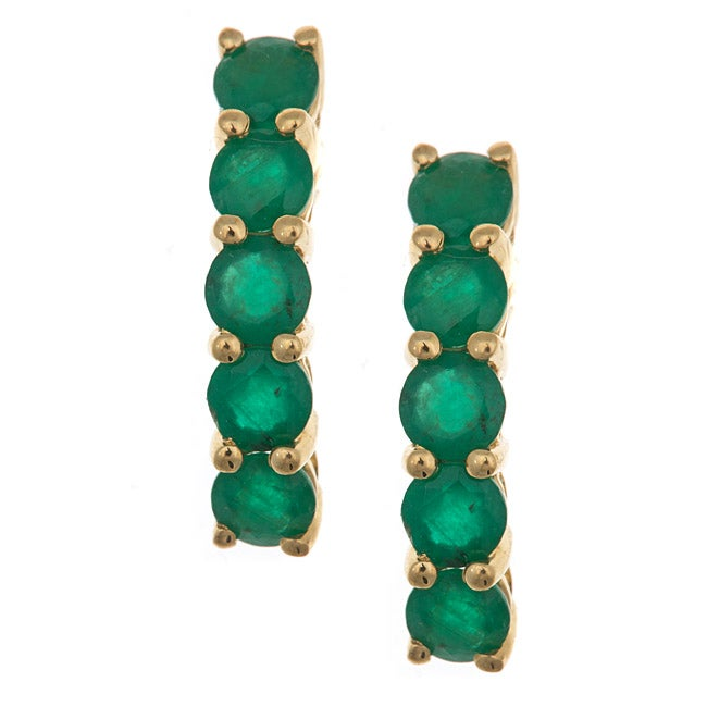 Anika and August 14k Yellow Gold Zambian Emerald Arc Earrings