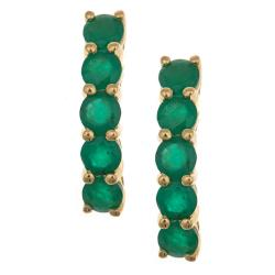 D'Yach 14k Yellow Gold Zambian Emerald Arc Earrings