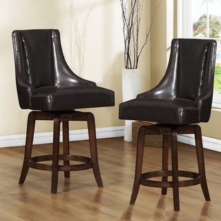TRIBECCA HOME Vella Dark Brown Swivel 24-inch Counter-height Stools (Set of 2)