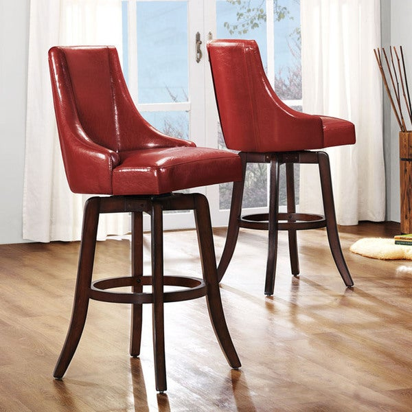 TRIBECCA HOME Vella Warm Red Swivel Upholstered 29-inch Barstools (Set of 2)