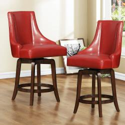 Vella Warm Red Swivel 24-inch Counter Height Stool (Set of 2)