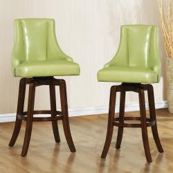 Vella Green Swivel Upholstered 29-inch Barstool (Set of 2)
