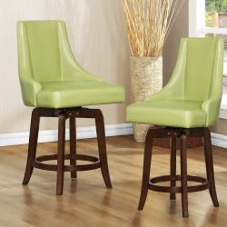 Vella Green Swivel 24-inch Counter Height Stool (Set of 2)