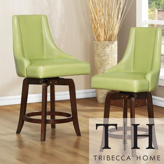 Tribecca Home Vella Green Swivel 24-inch Counter-height Stools (Set of 2)