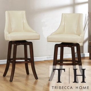 Tribecca Home Vella Cream White Swivel Upholstered 29-inch Barstools (Set of 2)