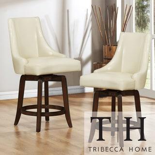 Tribecca Home Vella Cream White Swivel 24-inch Counter-height Stools (Set of 2)