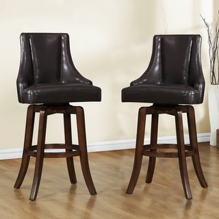 Tribecca Home Vella Dark Brown Swivel Upholstered 29-inch Barstools (Set of 2)