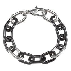 La Preciosa Men's Stainless Steel 8-inch Rectangular Black/ Silvertone Link Bracelet