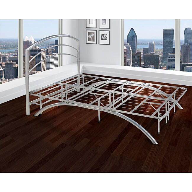 Sleep Sync Arch Flex King 14-inch Silver Platform Bed Frame with Headboard