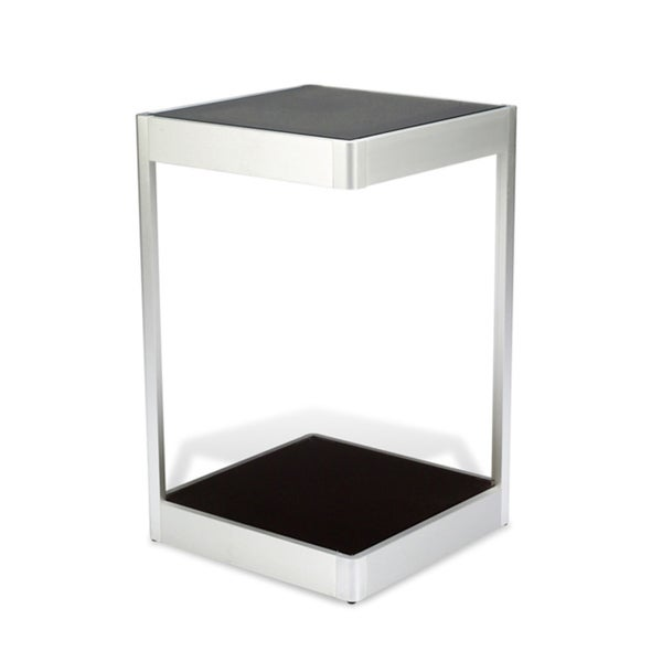J&K Black Glass 16-inch Square End Table