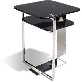 Jesper Office Black Glass/ Stainless Steel End Table