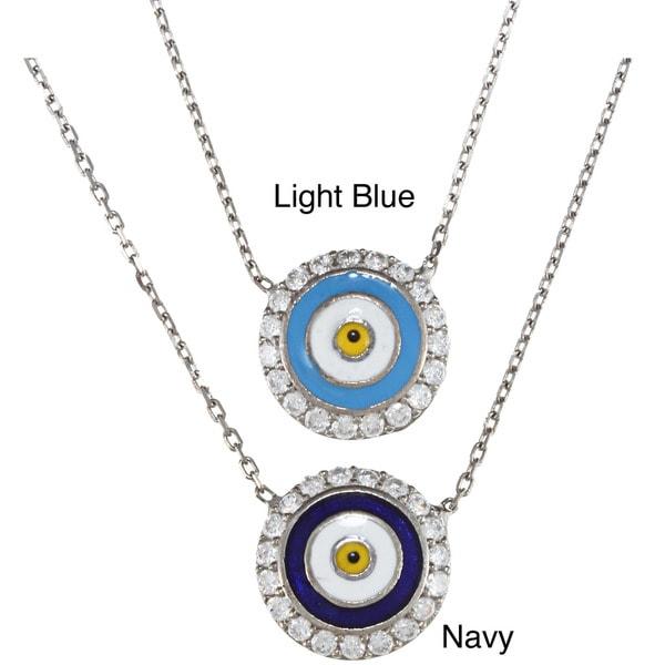 La Preciosa Sterling Silver Evil CZ Eye Necklace (17-inch)