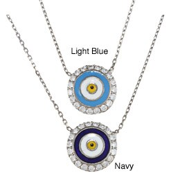 La Preciosa Sterling Silver Evil CZ Eye Necklace (17-inch)