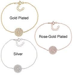 La Preciosa Sterling Silver High-polish CZ Round Disc Link Bracelet