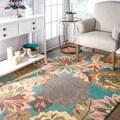 nuLOOM Handmade Bold Floral Wool Rug (5' x 7'6)