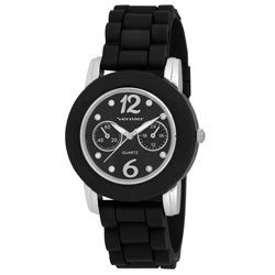 Vernier Women's Black Silicone Silver Highlights Watch