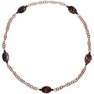 M by Miadora Goldtone Leopard and Onyx Bead Fashion Necklace