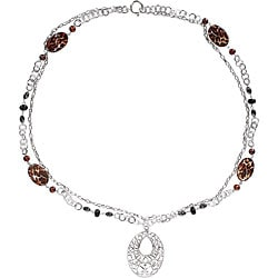 Miadora Freshwater Pearl Leopard Print Necklace (32-inch)