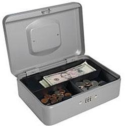 Barska 10-inch Gray Steel Cash Box with Combination Lock and Tray