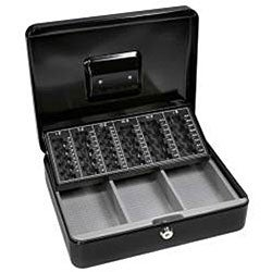 Barska 12-inch Cash Box with 6 Compartment Coin Tray with Key Lock