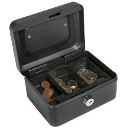 Barska Six-inch Black Steel Three-compartment Cash Box with Key Lock