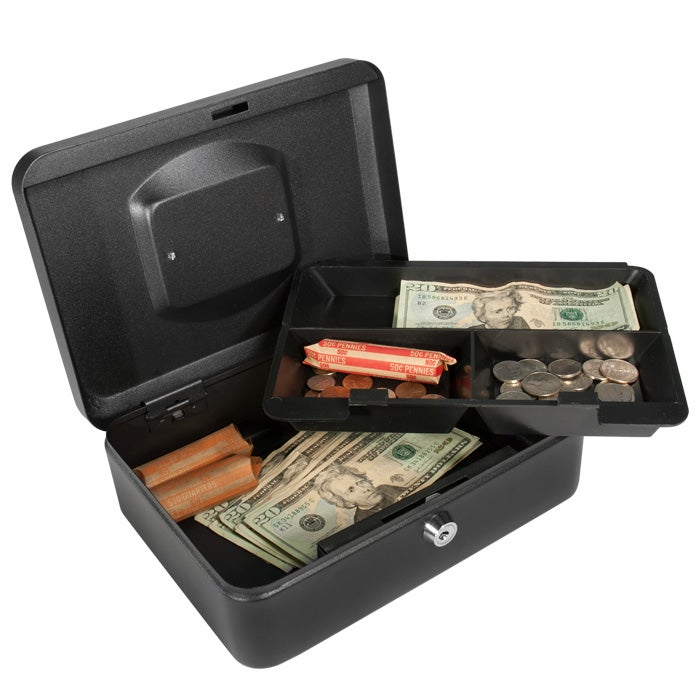 Barska 10-inch Black Cash Box with Key Lock
