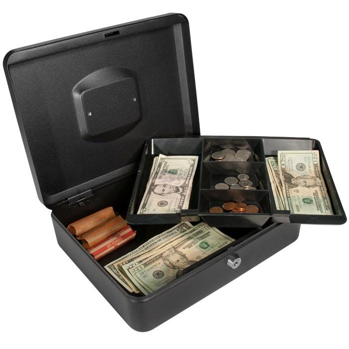 12-nch Black Cash Box with Key Lock