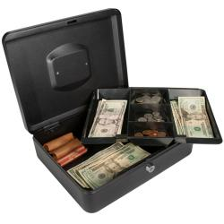 12-nch Black Cash Box with Key Lock
