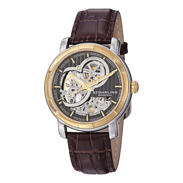 Stuhrling Original Men's Automatic Leather-Band Skeleton Watch