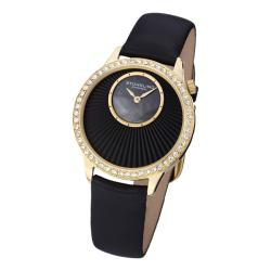 Stuhrling Original Women's Radiant Black Satin Covered Leather Strap Watch