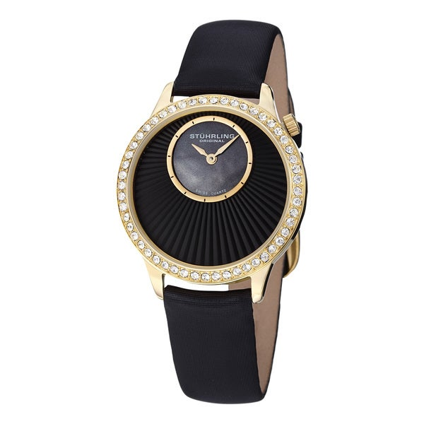Stuhrling Original Women's Radiant Black Satin Covered Leather Strap Watch