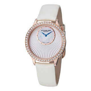 Stuhrling Original Women's Radiant Ivory Leather Strap Watch