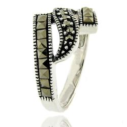 Dolce Giavonna Silver Overlay Marcasite Wave Design Ring