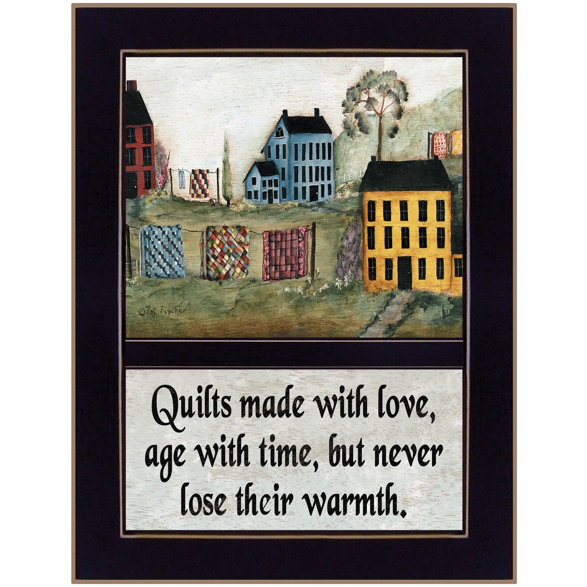 """'Quilts Made With Love' Black Framed Print (10.25"""" x 14"""")"""