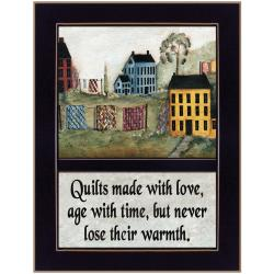 'Quilts Made With Love' Black Framed Print (10.25