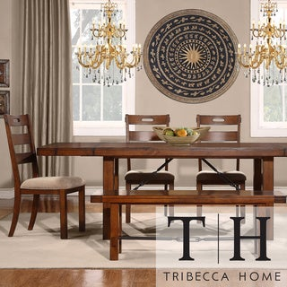 TRIBECCA HOME Swindon Rustic Oak Turnbuckle 6-piece Dining Set