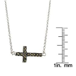 Dolce Giavonna Silver Overlay Marcasite Sideways Cross Necklace