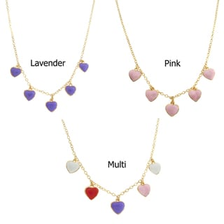 Molly and Emma Gold Overlay Enamel Children's Heart Charm Necklace