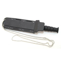 Defender 6-inch Mini Black Survival Knife with Chain Holder and Sheath