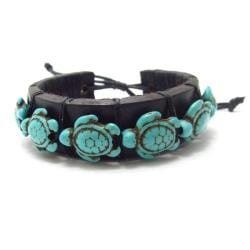 Swimming Turtles Turquoise Stones Leather Bracelet (Thailand)