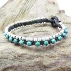 Tribal Love Turquoise Single Strand Toggle Bracelet (Thailand)