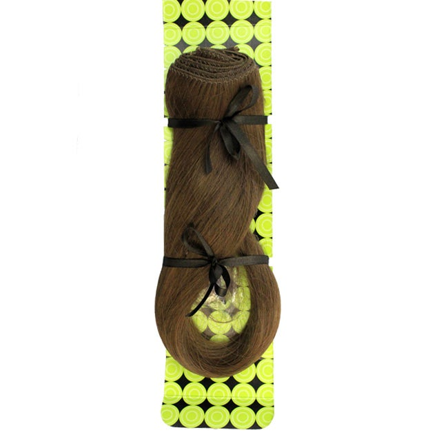Donna Bella #8 (Light Chestnut Brown) 16-inch Synthetic Full Head Hair Extensions
