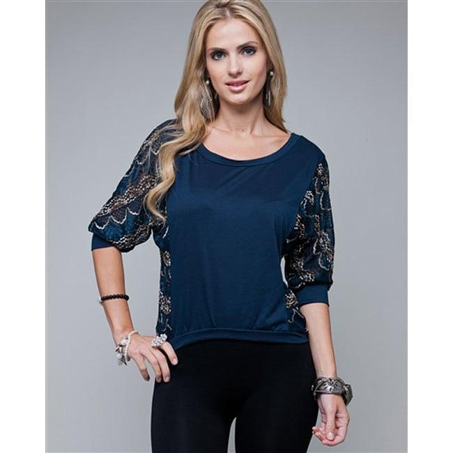 Stanzino Women's Navy Lace Sleeve Blouse