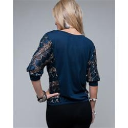 Stanzino Women's Navy Lace Sleeve Blouse